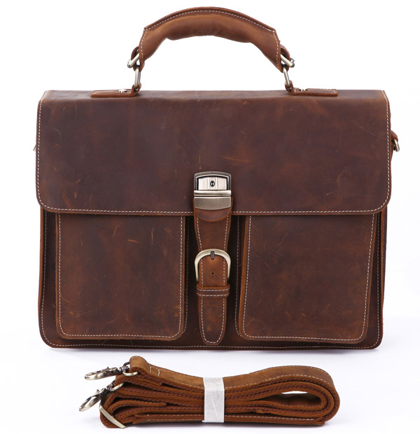 Chocolate Brown colour Portfolio Leather Briefcase