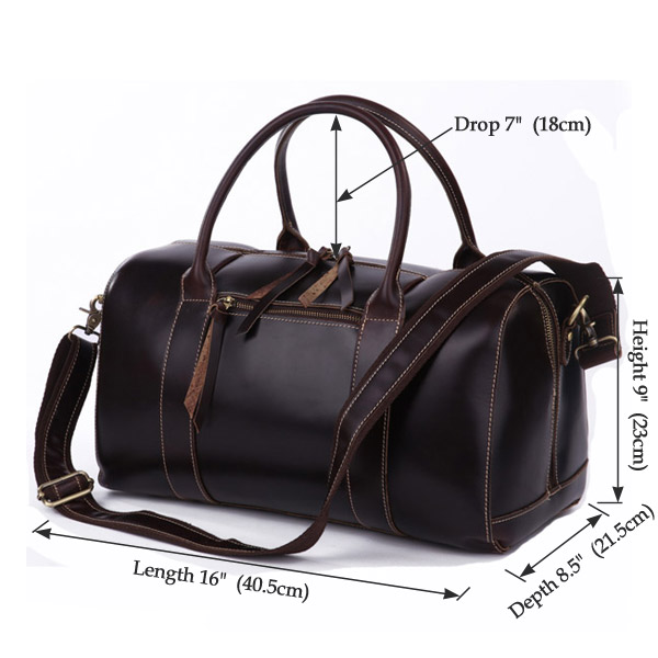 Coffee brown Leather Travel Bag